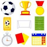 Piłka nożna meczu futbolowego kreskówki ikony 9 elementu set ilustracji
