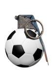 piłka nożna na granat Zdjęcie Royalty Free