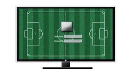 Piłka nożna na TV pojęciu odizolowywającym na bielu Zdjęcie Royalty Free