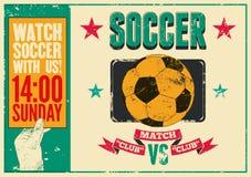 Piłka nożna rocznika grunge stylu typographical plakat retro ilustracyjny wektora Obraz Royalty Free