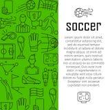 Piłka nożna sztandaru projekta wektorowy pojęcie z cienkimi kreskowej sztuki ikonami, Fotografia Royalty Free