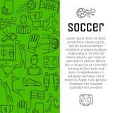 Piłka nożna sztandaru projekta wektorowy pojęcie z cienkimi kreskowej sztuki ikonami, Zdjęcia Royalty Free