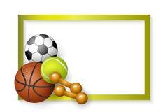 Piłka nożna, tenis, koszykówek piłki, dumbbells rama ilustracja wektor