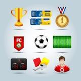 Piłka nożna ustawiająca 3d ikony z polem, piłka, trofeum, chorągwiany sztandar, medal, tablica wyników, gwizd, bilet, fottball gr Fotografia Royalty Free