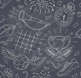 Piłka nożna wzór na chalkboard Fotografia Royalty Free