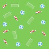 Piłka nożna wzór z futbolowymi butami, piłkami i celem, Obrazy Stock