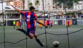 Piłka nożna z duszą i pasją zdjęcie stock