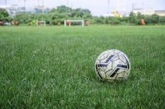 Piłka nożna zielona trawa Fotografia Stock
