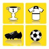 piłka w piłce nożnej ikona graczy sylwetek dwa sportu Obraz Stock
