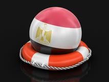 Piłka z egipcjanin flaga na lifebuoy ilustracja wektor