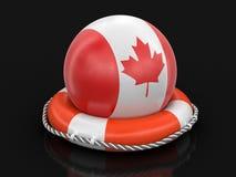 Piłka z kanadyjczyk flaga na lifebuoy ilustracja wektor
