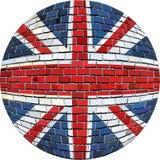 Piłka z Wielką Brytania flaga w cegła stylu Zdjęcie Royalty Free