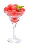 Piłki arbuz w szklanym Cremant odosobniony fotografia royalty free