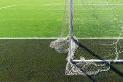 Piłki nożnej boiska piłkarskiego bramy siatka Fotografia Stock