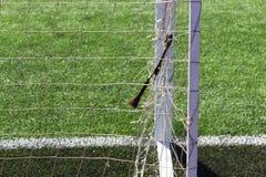 Piłki nożnej boiska piłkarskiego bramy siatka Zdjęcia Stock