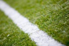 Piłki nożnej boiska piłkarskiego trawy białej linii tła tekstura Obraz Royalty Free