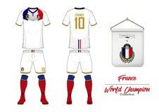 Piłki nożnej bydło lub futbolu zestaw Francja futbolu drużyna narodowa. Futbolowy logo z domową flaga Frontowego i tylni widoku p Obrazy Royalty Free
