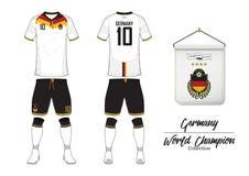 Piłki nożnej bydło lub futbolu zestaw Niemcy futbolu drużyna narodowa. Futbolowy logo z domową flaga Frontowego i tylni widoku pi Fotografia Stock