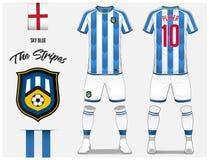Piłki nożnej bydło lub futbolu zestawu szablon dla futbolu klubu Błękit i biel paskujemy futbolową koszula z skarpetą i zwieramy  Fotografia Stock