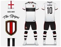 Piłki nożnej bydło lub futbolu zestawu szablon dla futbolu klubu Czarny i biały lampasa futbolowa koszula z skarpety i skrótu egz Zdjęcie Royalty Free