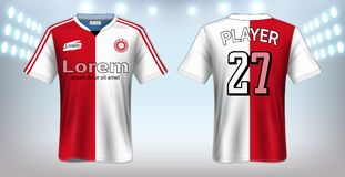 Piłki nożnej bydło, sport koszulki Mockup szablon, Realistyczny Graficznego projekta przód i Tylny widok dla Futbolowych zestawów ilustracji