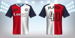 Piłki nożnej bydło, sport koszulki Mockup szablon, Realistyczny Graficznego projekta przód i Tylny widok dla Futbolowych zestawów royalty ilustracja