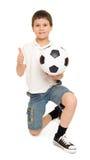 Piłki nożnej chłopiec studio odizolowywający Obrazy Stock