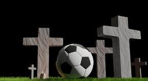 Piłki nożnej piłki cmentarz 3d-illustration ilustracji