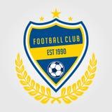 Piłki nożnej drużyny odznaki błękitny i żółty kolor ilustracja wektor