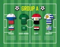 Piłki nożnej filiżanki 2018 drużyny grupa A Gracze futbolu z bydło flaga państowowa i mundurem Wektor dla międzynarodowego świato royalty ilustracja
