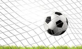 Piłki nożnej futbolowa piłka i zieleń gazon z celem przy piłką nożną zarabiamy netto 3d ja royalty ilustracja