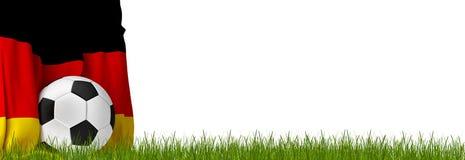 Piłki nożnej futbolowa piłka z flaga Niemcy 3d-illustration ilustracji