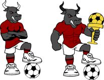 piłki nożnej futbolu byka kreskówki silny set Zdjęcia Royalty Free