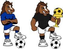 Piłki nożnej futbolu kreskówki silny koński set Zdjęcia Stock