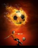 Piłki nożnej gorąca piłka Fotografia Royalty Free