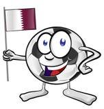 Piłki nożnej piłki kreskówka z chorągwiany quatar Zdjęcia Royalty Free