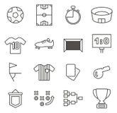Piłki nożnej lub futbolu ikony Cienieją Kreskowego Wektorowego ilustracja set Fotografia Royalty Free