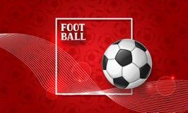 Piłki nożnej lub futbolu sztandar z piłką Bawi się ilustrację Zdjęcia Stock