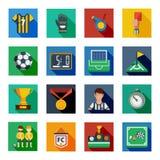 Piłki nożnej mieszkania ikony Ciosowy set ilustracji