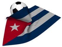 Piłki nożnej piłka i flaga Cuba Zdjęcie Stock