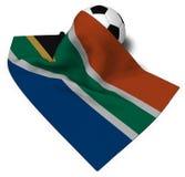 Piłki nożnej piłka i flaga południowy Africa Fotografia Stock