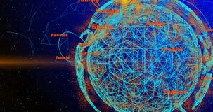 Piłki nożnej piłka i kontynenty planety ziemia wiruje na gradientowym tle, składać się z linie i cząsteczkach, i ilustracja wektor