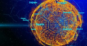Piłki nożnej piłka i kontynenty planety ziemia wiruje na gradientowym tle, składać się z linie i cząsteczkach, i ilustracji