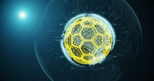 Piłki nożnej piłka i kontynenty planety ziemia wiruje na gradientowym tle, składać się z linie i cząsteczkach, i royalty ilustracja