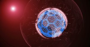 Piłki nożnej piłka i kontynenty planety ziemia wiruje na gradientowym tle, składać się z linie i cząsteczkach, royalty ilustracja