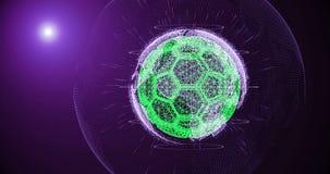 Piłki nożnej piłka i kontynenty planety ziemia wiruje na gradientowym tle, składać się z linie i cząsteczkach, ilustracja wektor