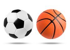 Piłki nożnej piłka i koszykówki piłka na odosobnionym obrazy stock