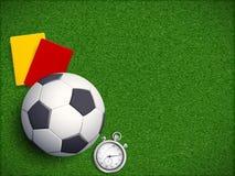 Piłki nożnej piłka na trawy polu stadium zdjęcie royalty free