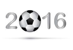 Piłki nożnej piłka w 2016 cyfrze na bielu Zdjęcia Royalty Free