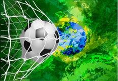 Piłki nożnej piłka w sieci z Brazil flaga, nowożytny szablonu projekt Obrazy Royalty Free